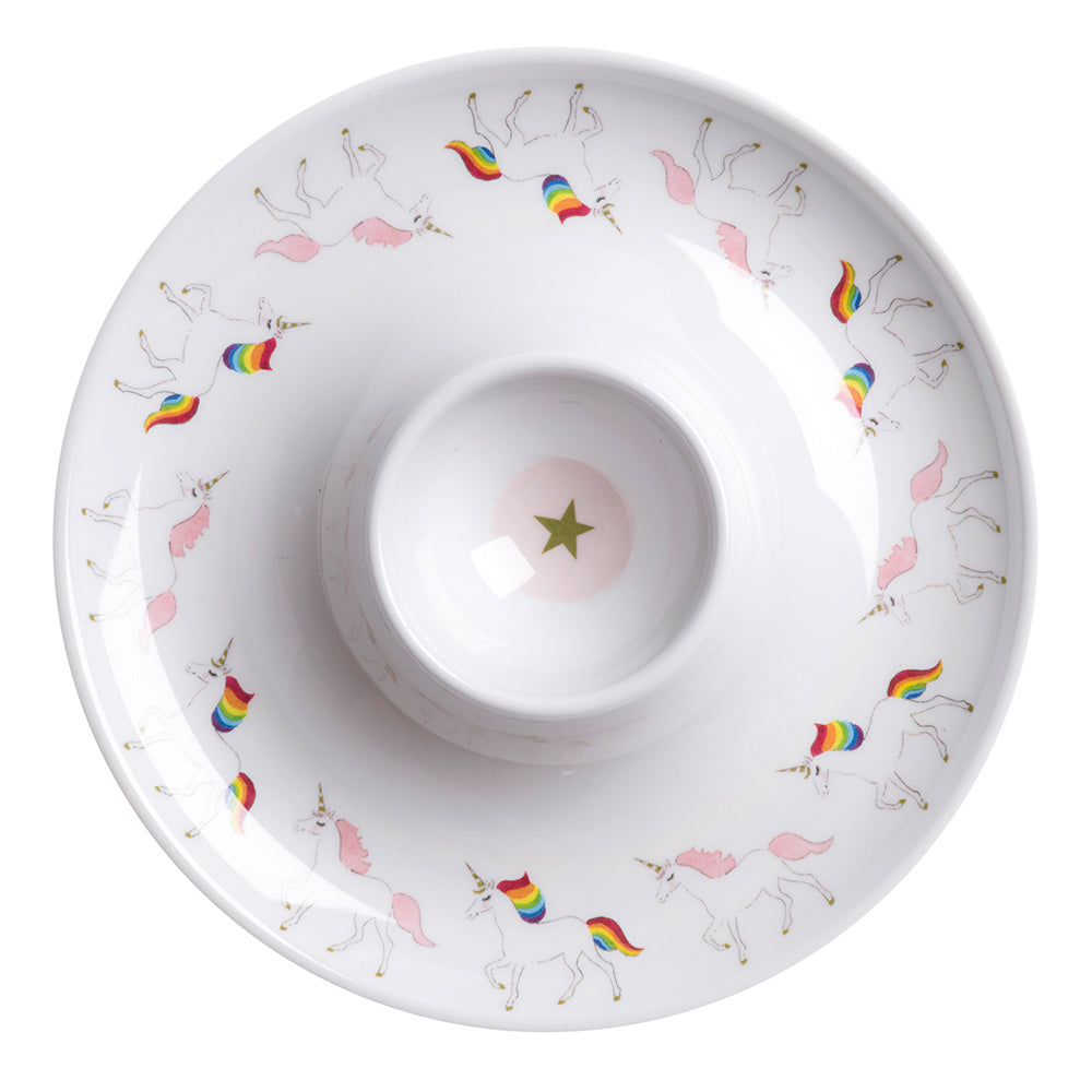 Unicorn Childrens Melamine Egg Cup Saucer