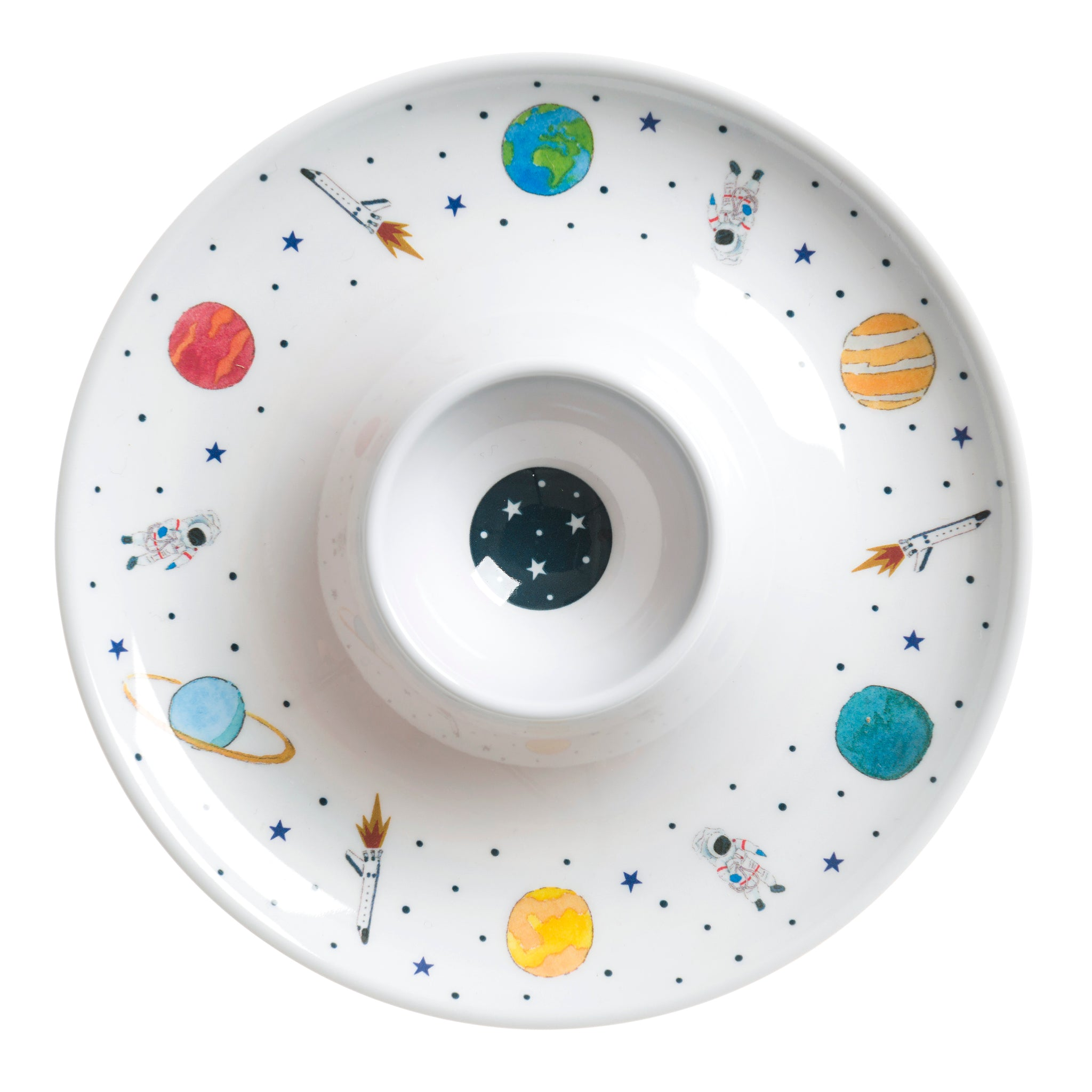 Space Childrens Melamine Egg Cup Saucer