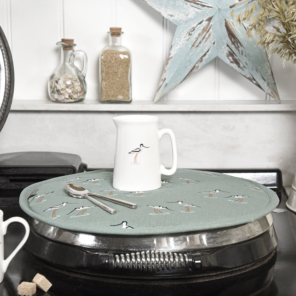 Sophie Allport Coastal Birds Circular Hob Cover for AGA