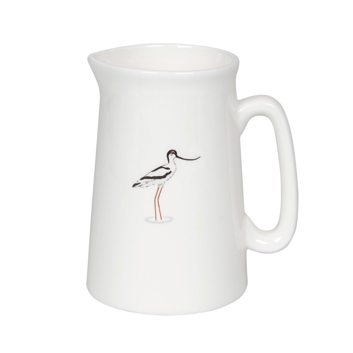 White fine bone china small jug with Coastal Bird on by Sophie Allport