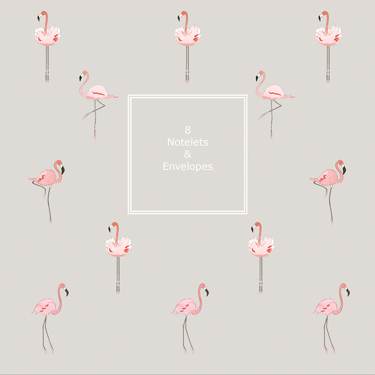 Flamingos Notelet Wallet - 8 notelets & envelopes