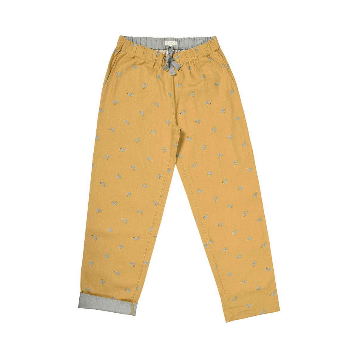 Mustard yellow pyjama bottoms covered in pretty grey elephants
