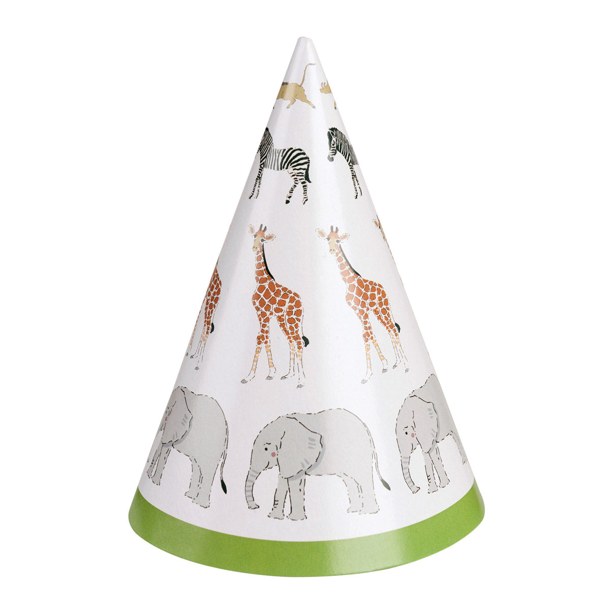 Safari Paper Cone Party Hats - Pack of 8