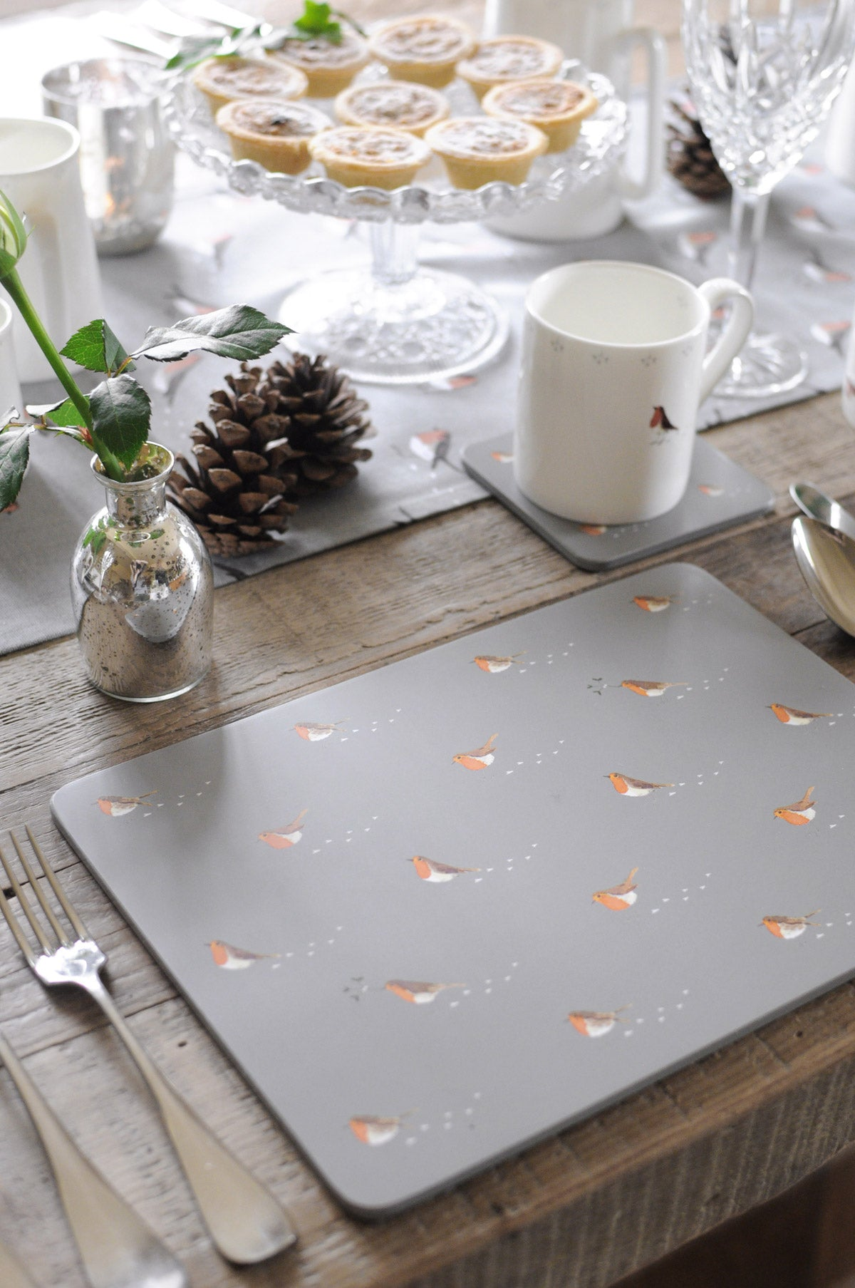Robin & Mistletoe Placemats - Set of 4