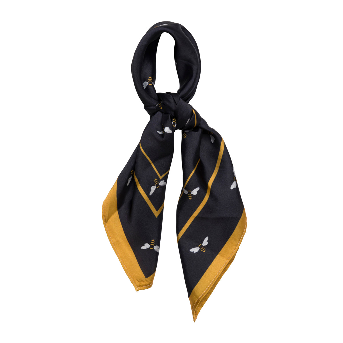 Lightweight square scarf accessory part of Sophie Allport's Bee collection, navy with yellow edge.