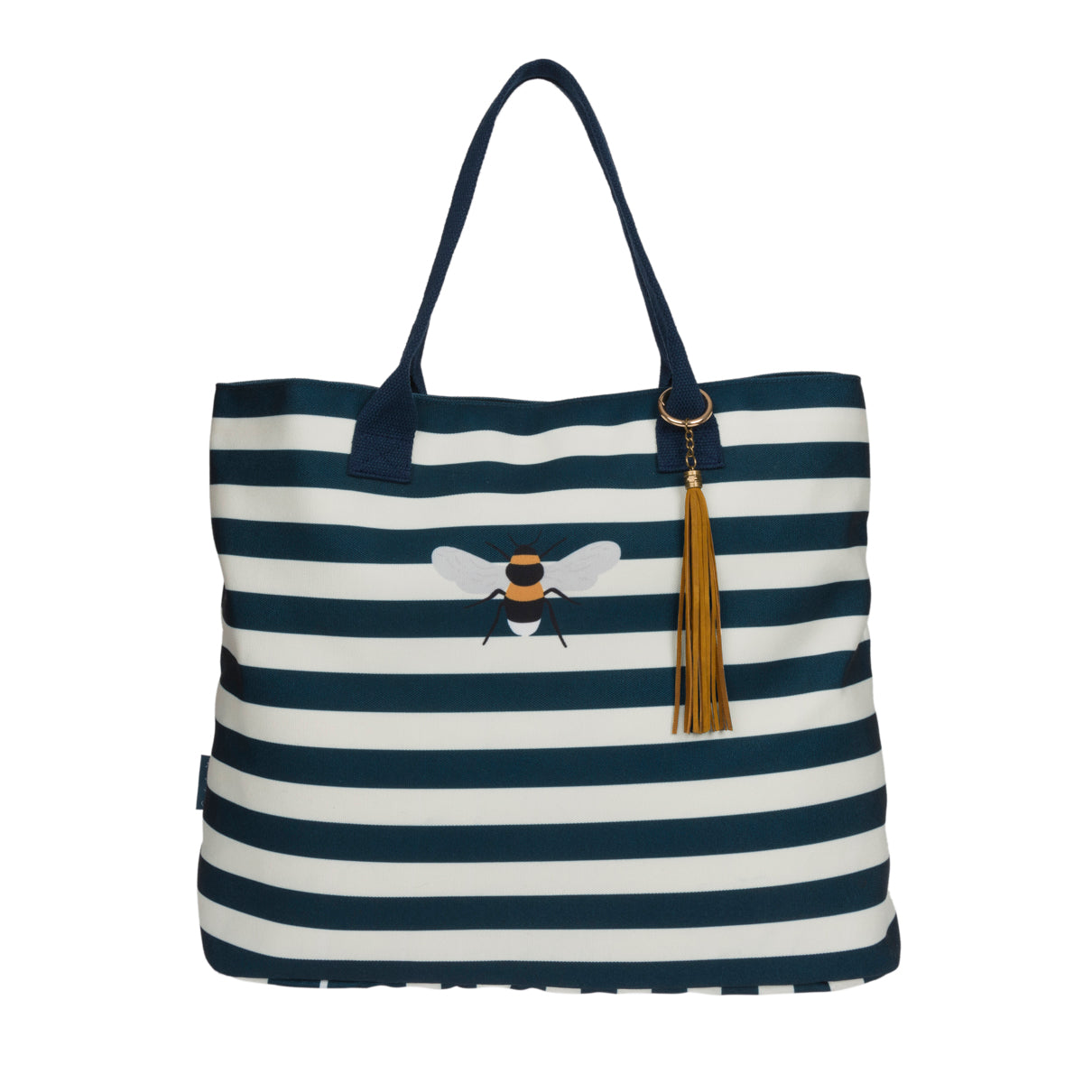 Sophie Allport tote bag, white and navy blue stripes with feature tassel and bee design.