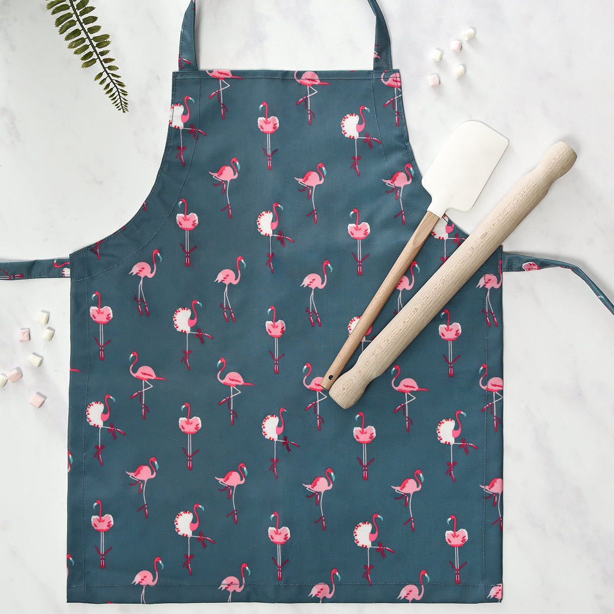 Navy Flamingos Kids Apron by Sophie Allport