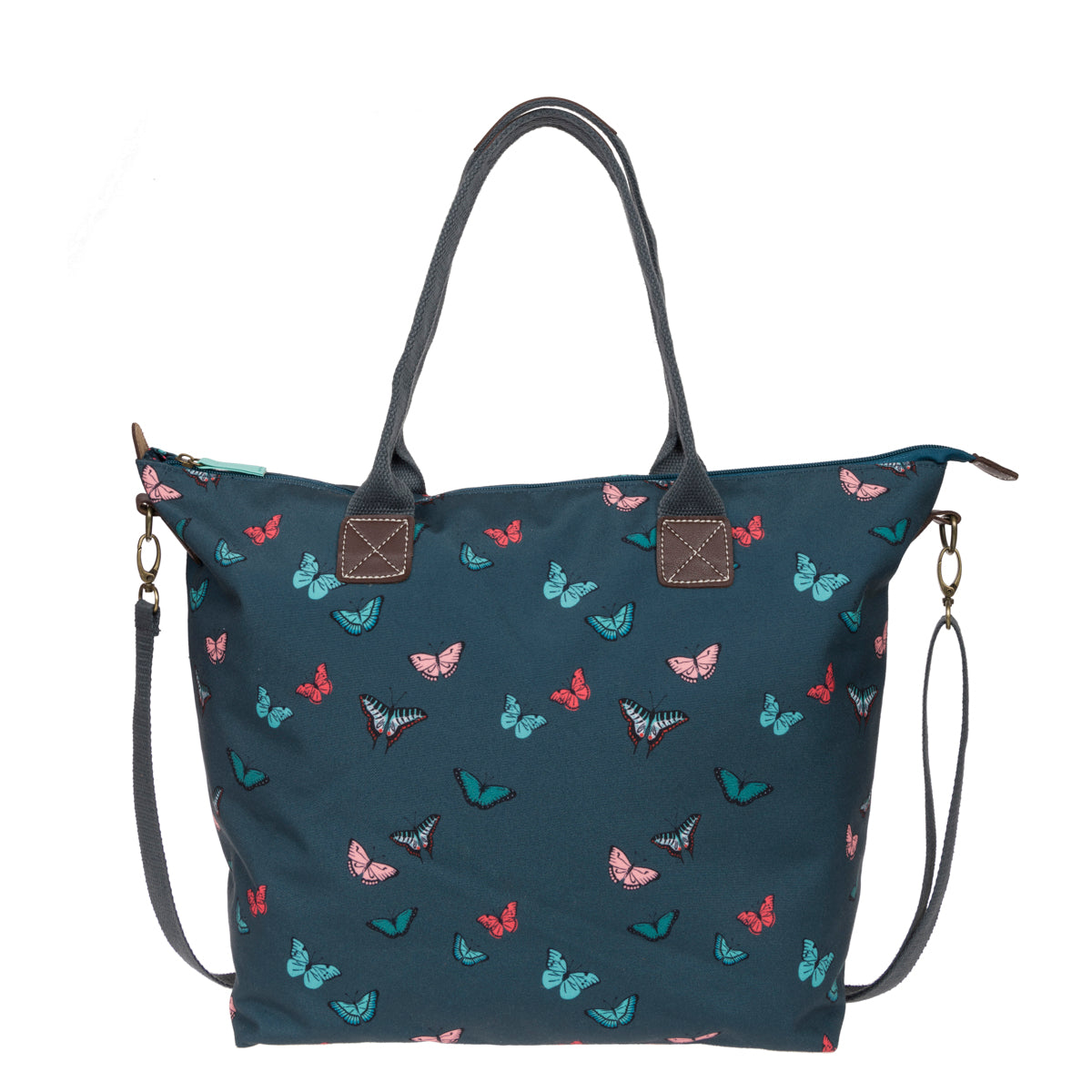 Sophie Allport Blue Bag covered in colourful butterflies.