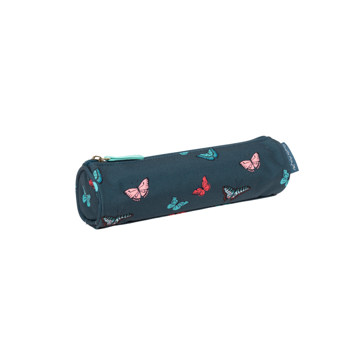 A blue pencil case with colourful butterflies by Sophie Allport.