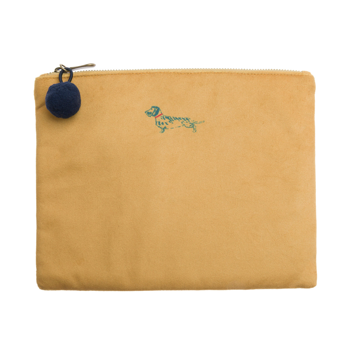 Dachshund Velvet Pouch in mustard yellow colour