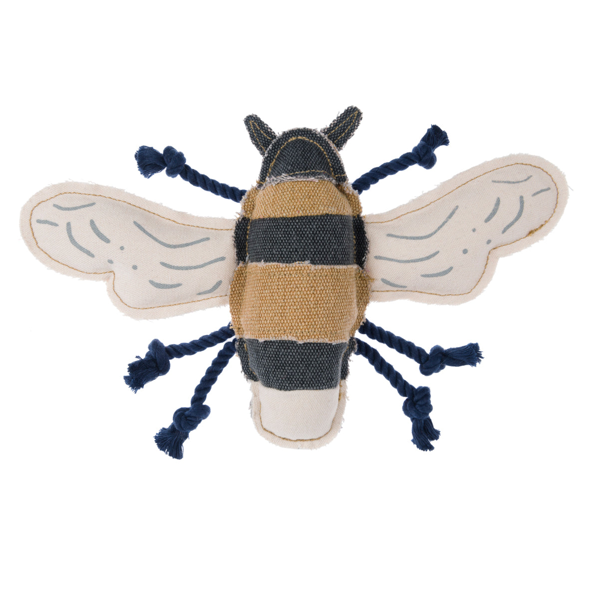 Dog toy shaped as a bee with rope legs by Sophie Allport