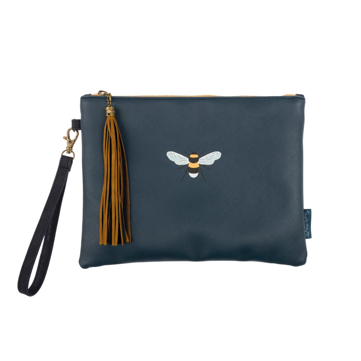 Navy faux leather and faux suede bag withe feature bee illustration and tassel by Sophie Allport