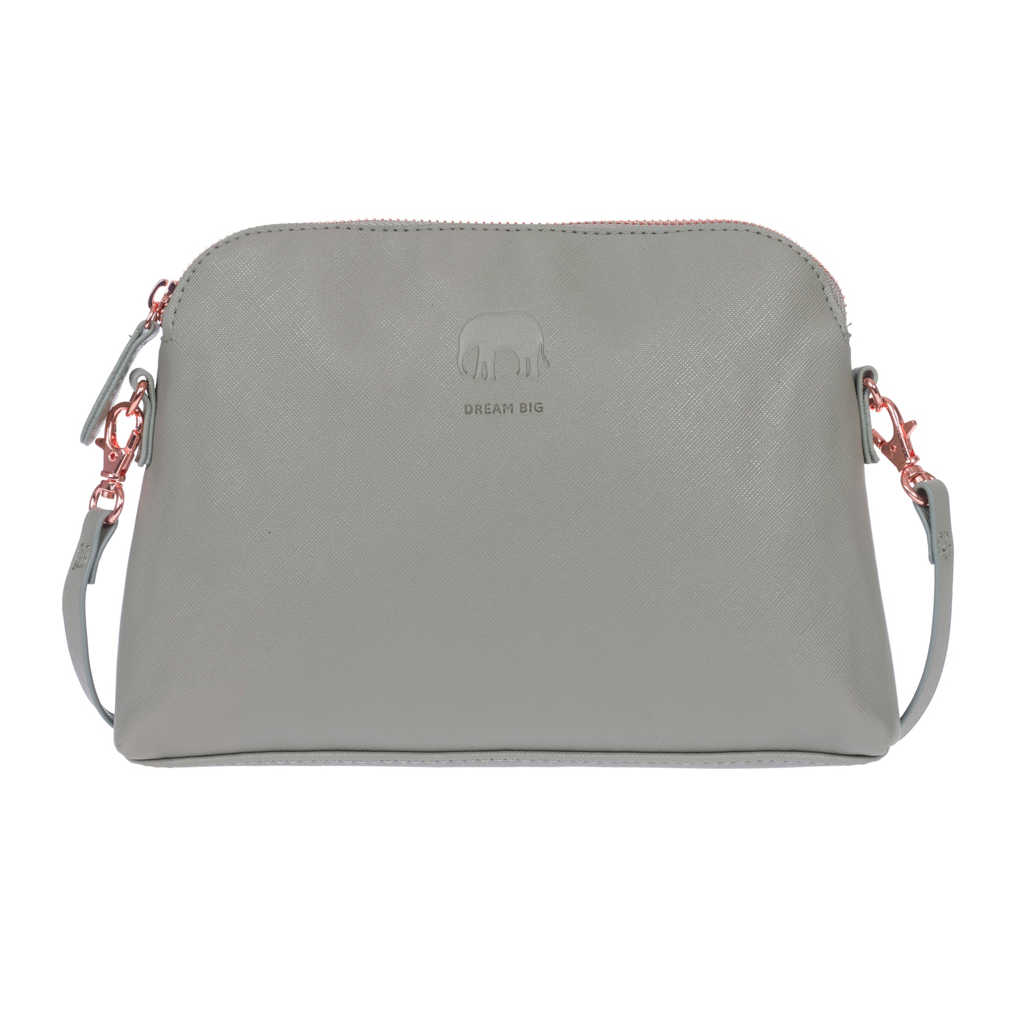 Grey shoulder bag made from faux leather