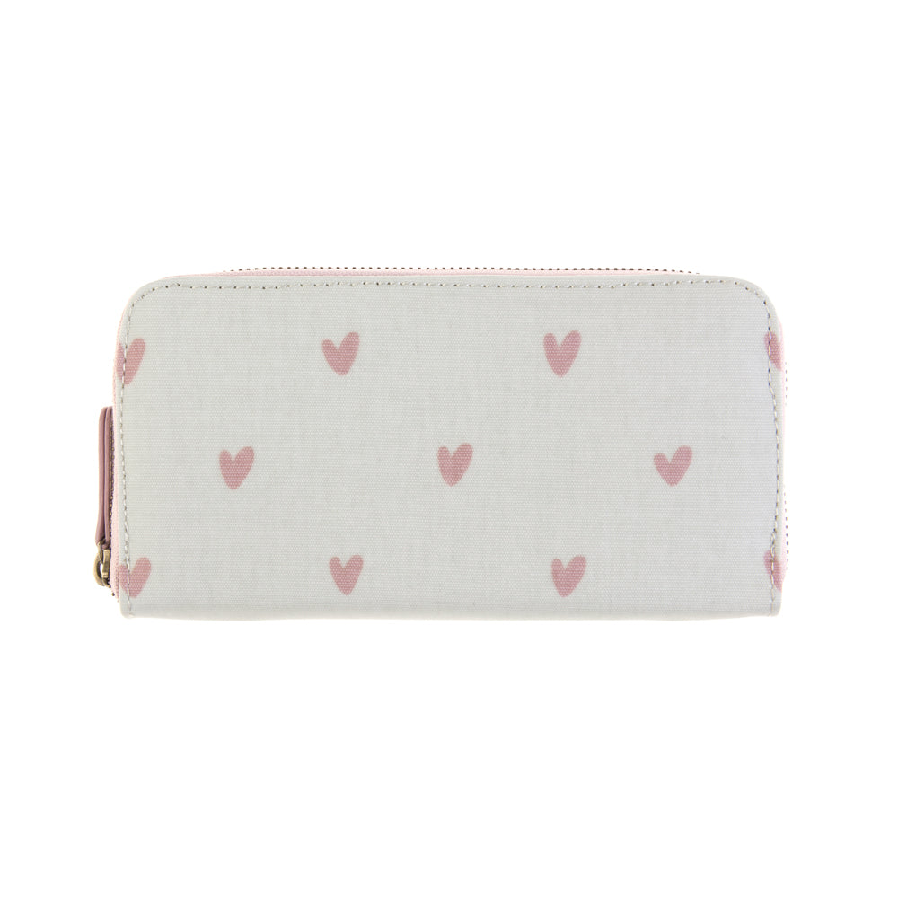 Hearts Oilcloth Zipped Wallet Purse