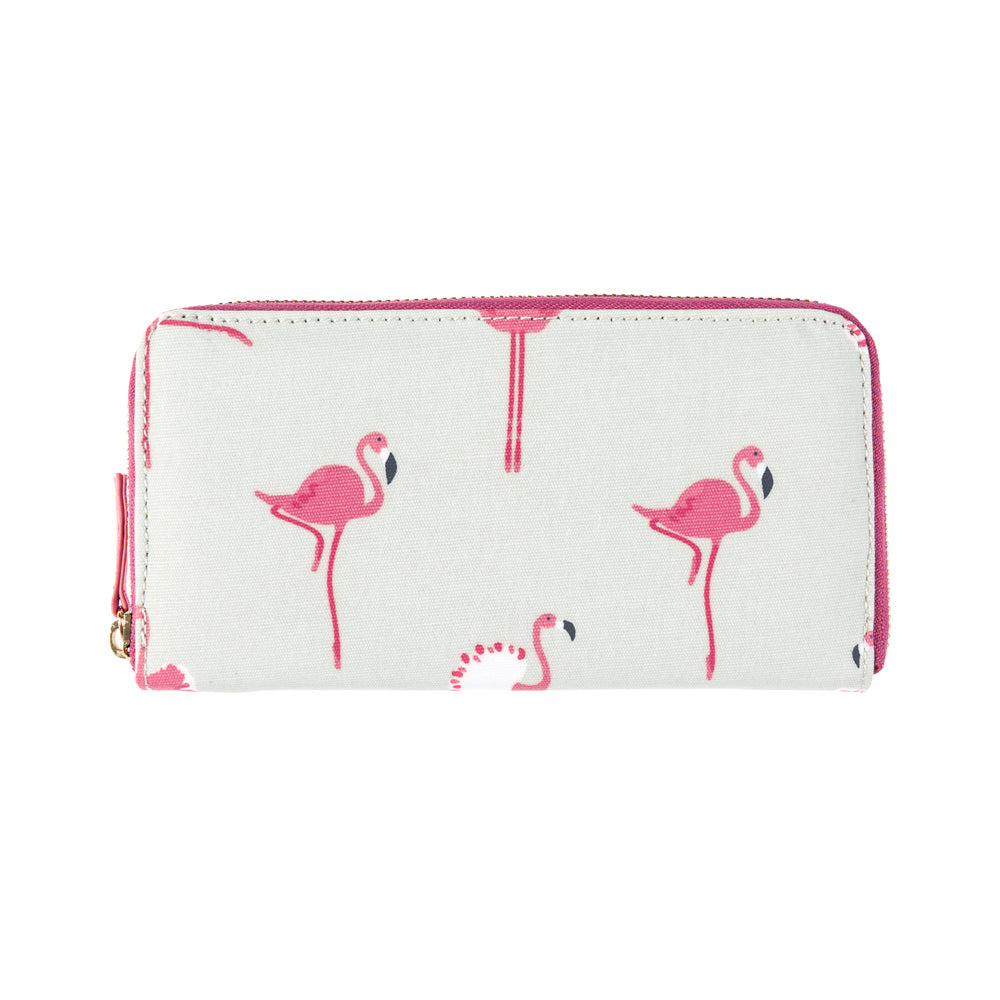 Flamingos Oilcloth Zipped Wallet Purse