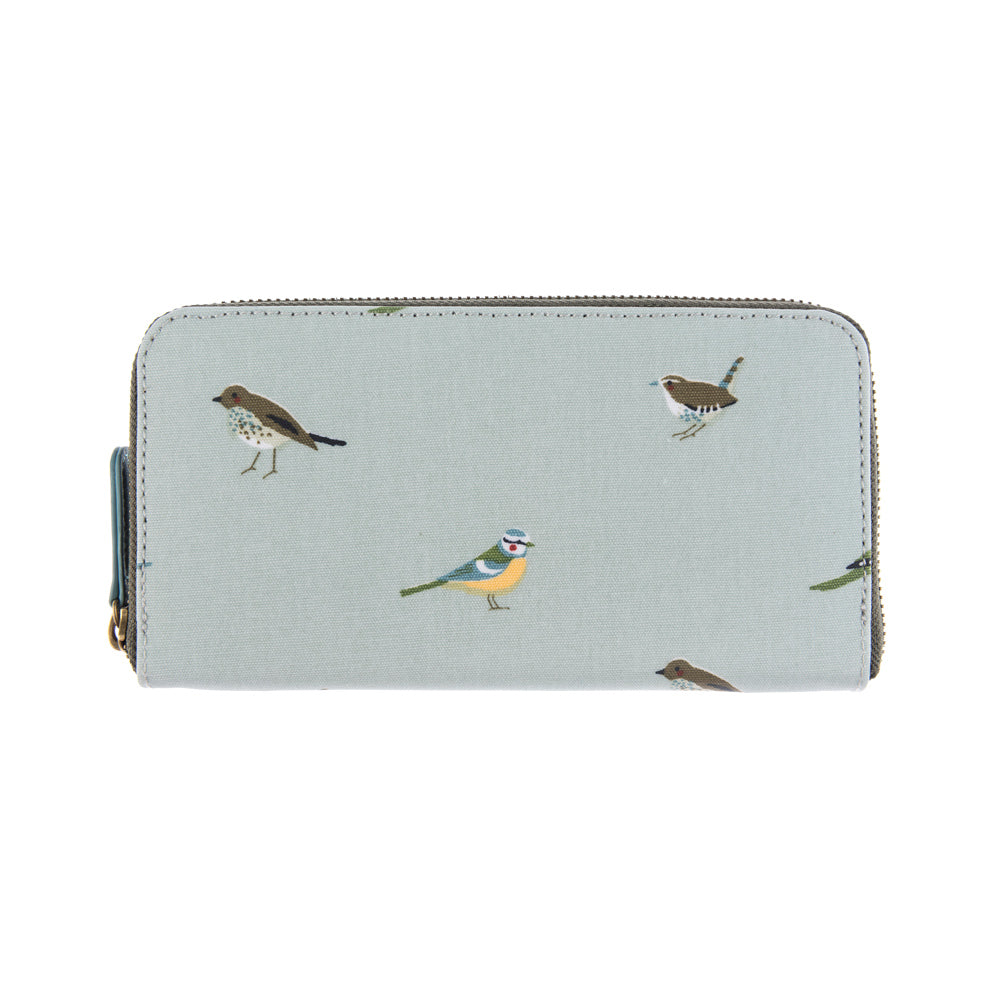 Garden Birds Oilcloth Zipped Wallet Purse