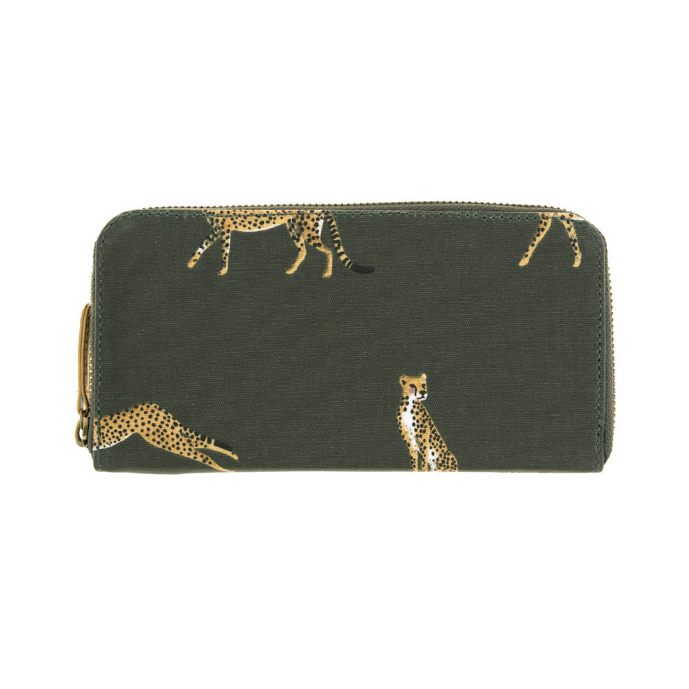 Cheetah Oilcloth Zipped Wallet Purse