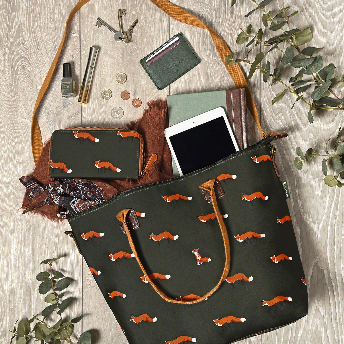 Foxes Oilcloth Zipped Wallet Purse