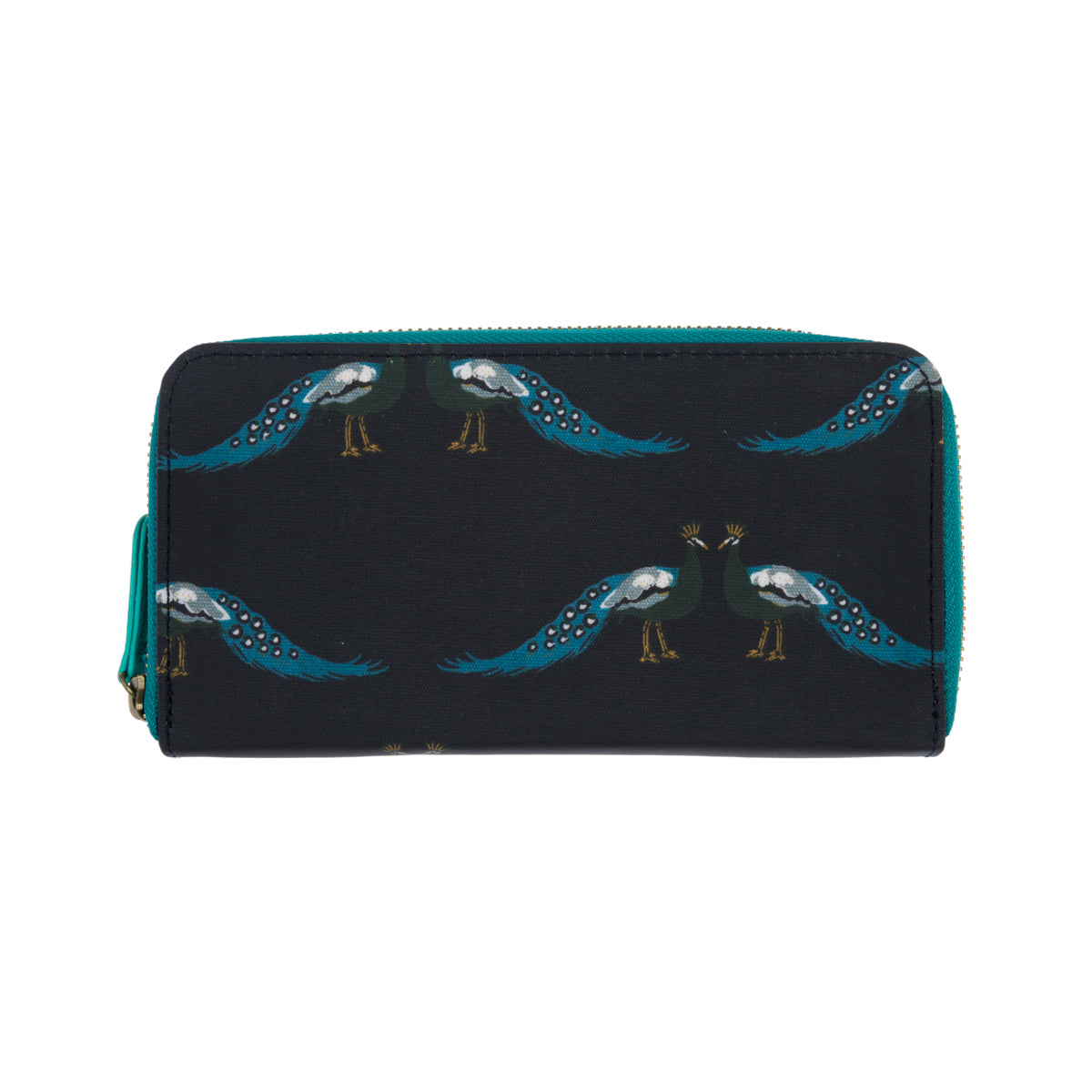 Oilcloth Wallet Purse - Peacocks (metal zip)