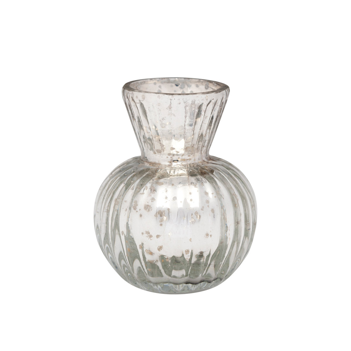 Silver Fluted Glass Vase