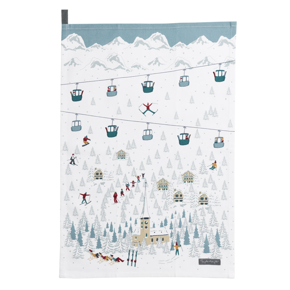 Skiing On the Piste! Tea Towel