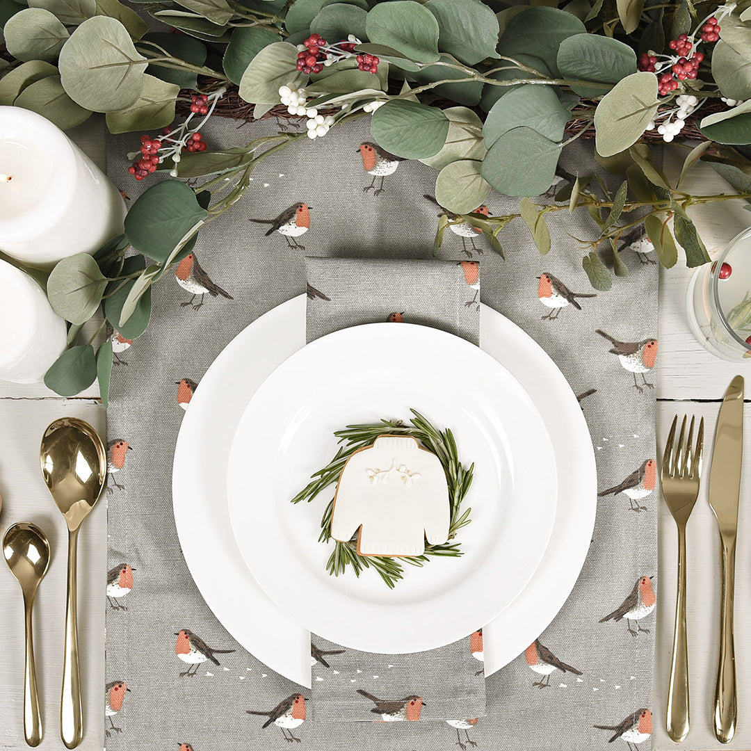 Robin & Mistletoe Napkins - Set of 4