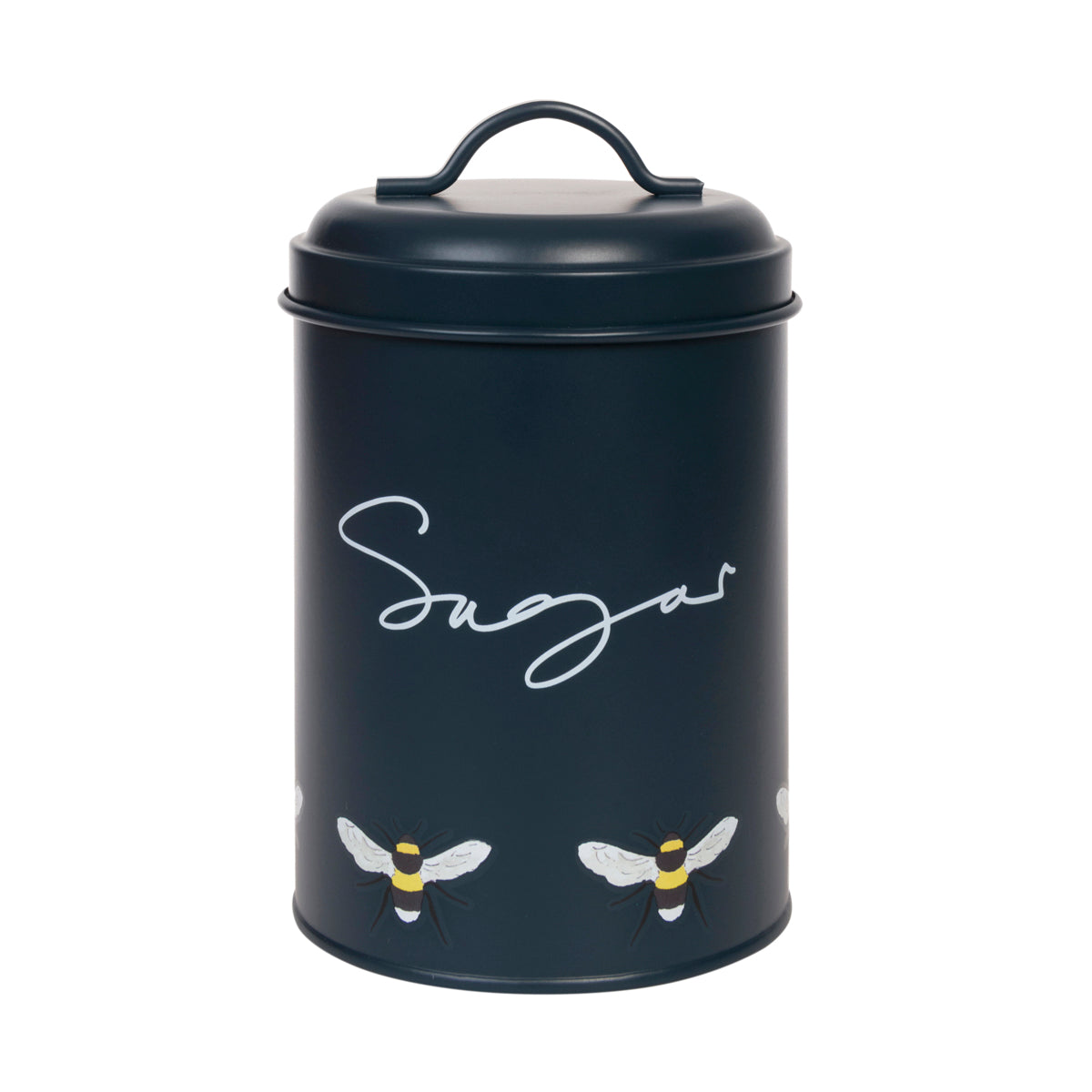 Made from galvanised steel with a navy background, this sugar tin is part of Sophie Allport's Bees Collection.