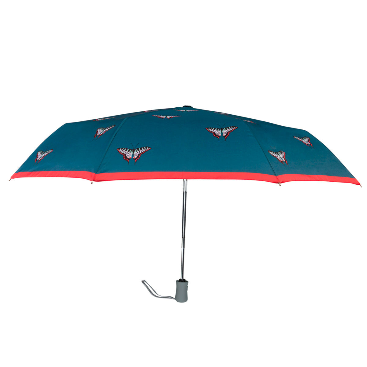 Blue Sophie Allport umbrella featuring a range of butterflies with blue outer.