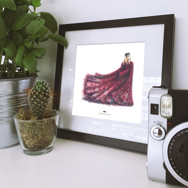 Yislamoo | Lady in Red Framed Print by Shamekh Bluwi
