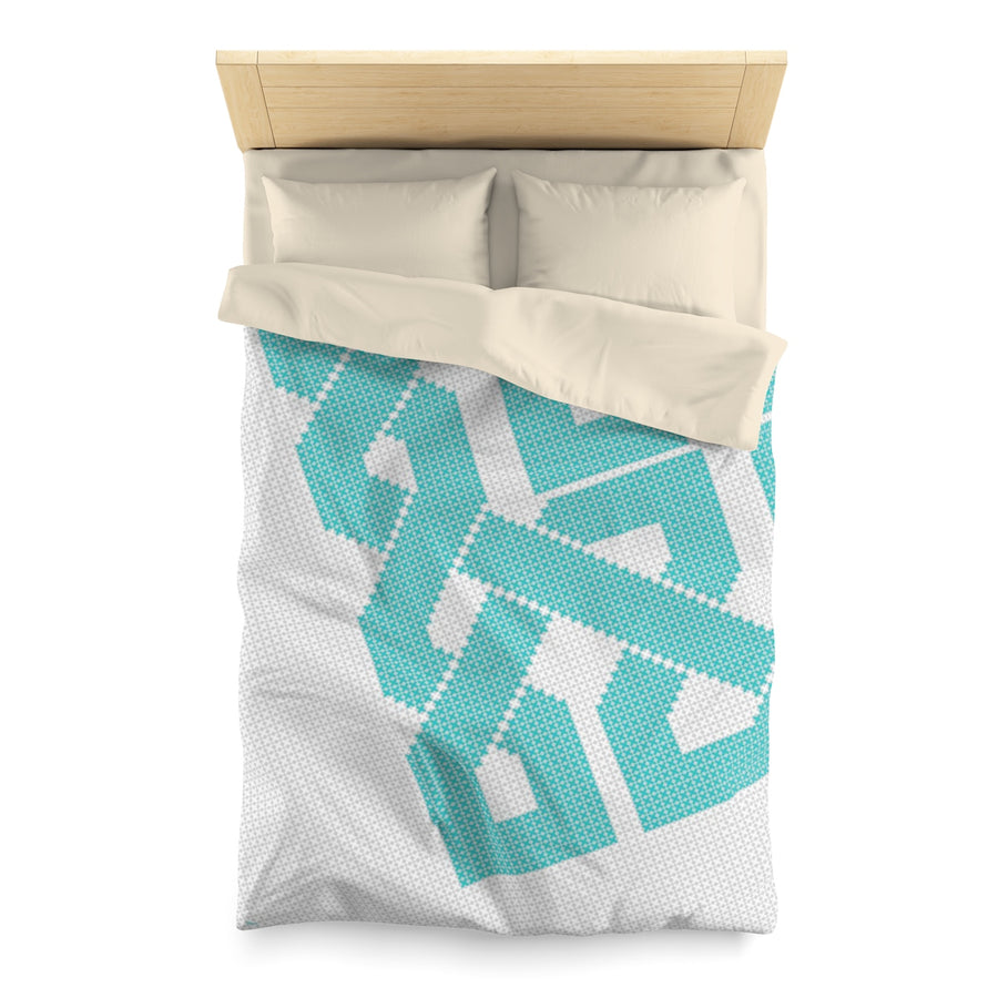 Geometric Duvet Cover in Azure | Islamic Pattern Bedding | Yislamoo