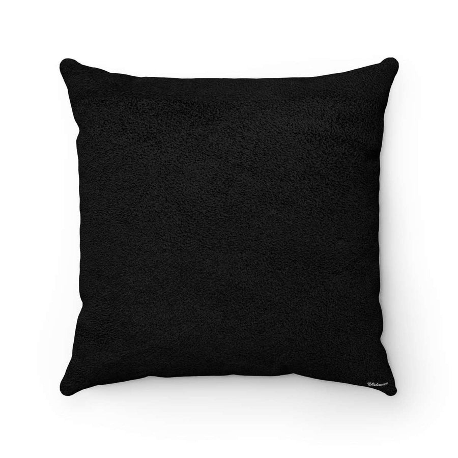 C'est La Vie in Black Faux Suede Square Pillow Case