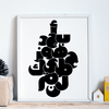 black & white wall art for nursery,Arabic Alphabet Poster,Yislamoo
