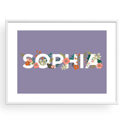 Floral Baby Name Personalized Art Print