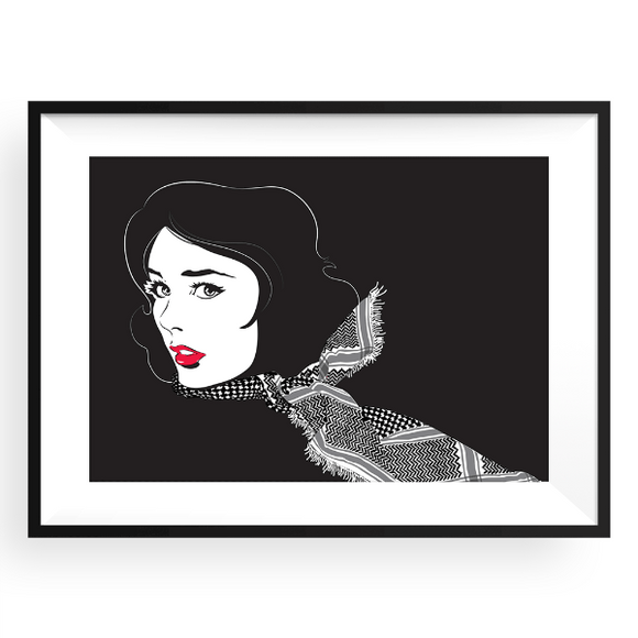 Yislamoo | Shemagh Beauty in Red Wall Art Frame