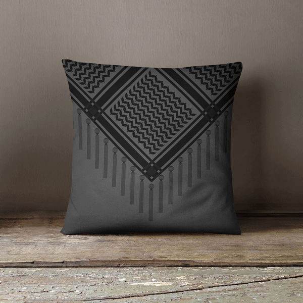 Bedouin Scarf in Black Faux Suede Square Pillow Case, Yislamoo