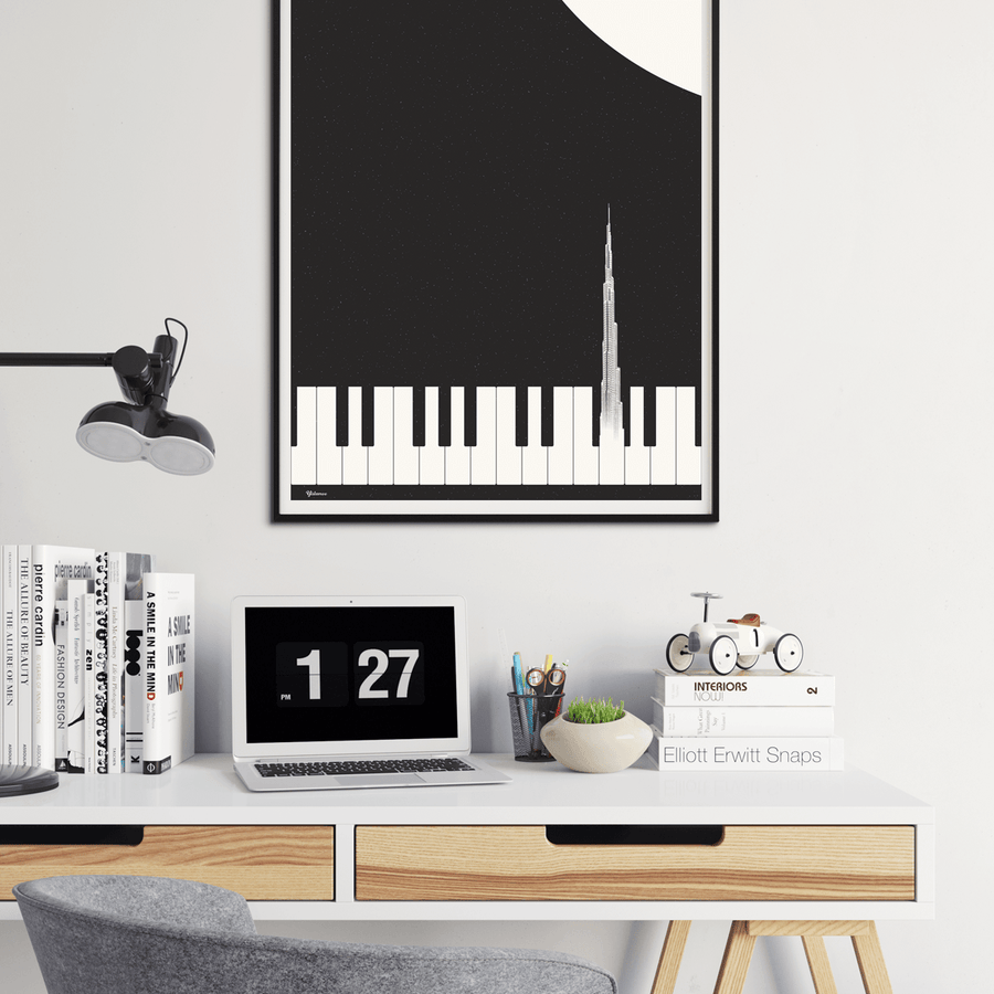 Burj Khalifa Souvenir, Burj Khalifa Art Print, UAE Wall Art, Black and White Wall Art,Yislamoo