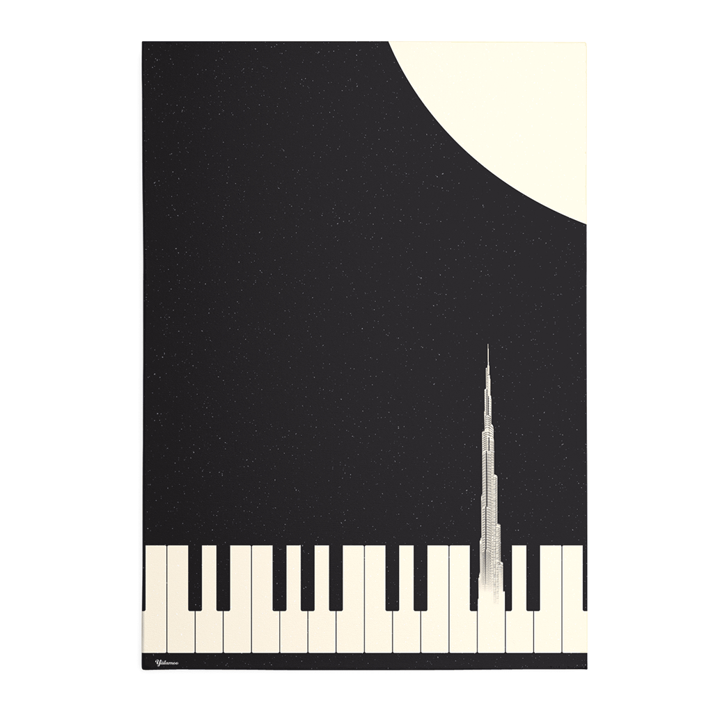Yislamoo | Music of Burj Khalifa Framed Print Black
