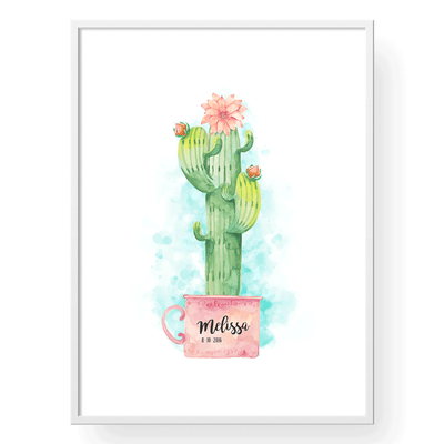 Cactus Nursery Decor Personalized Art Print