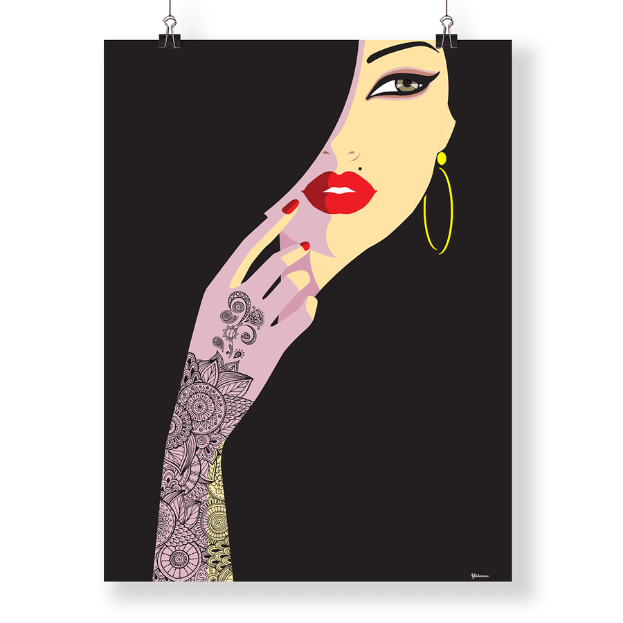 A4 Art print Henna Lady in Black