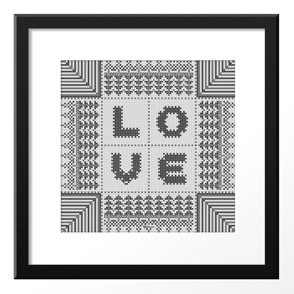 Yislamoo | Cross-Stitched Love Art Print Black