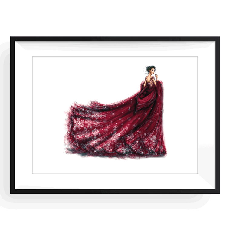 Lady in Red Print Framed A4 (29.7 x 21 cm), Framed Print - Shamekh Bluwi, yislamoo - 1