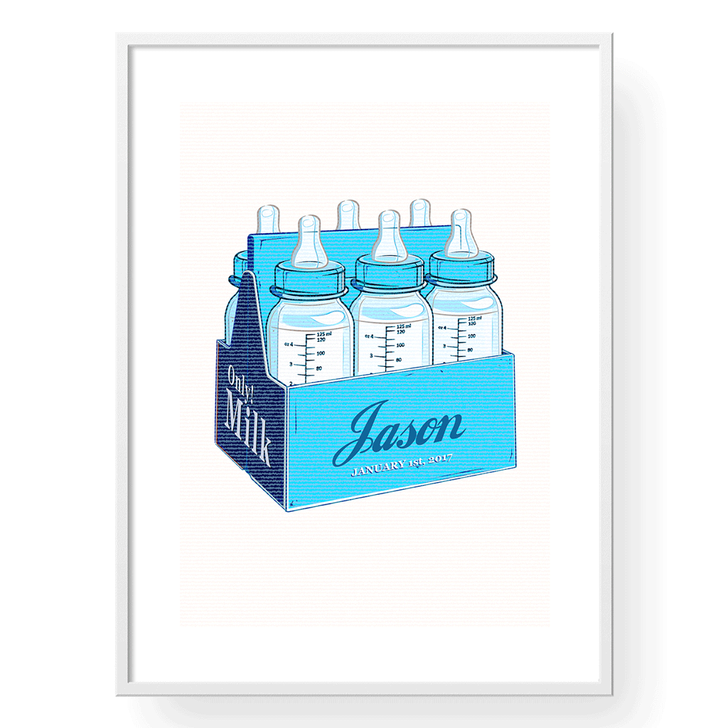 Yislamoo | Personalized Milk Only Art Print English in Blue