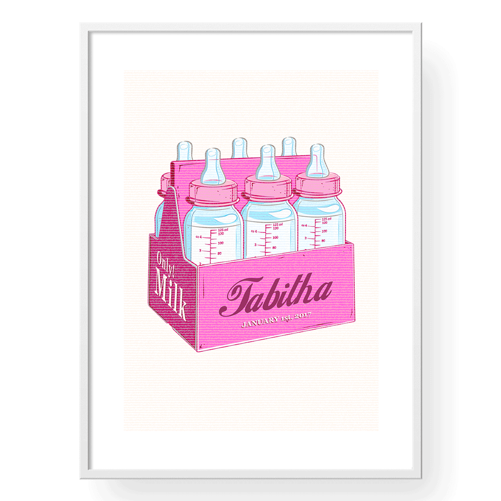 Yislamoo | Personalized Milk Only Art Print English in Pink