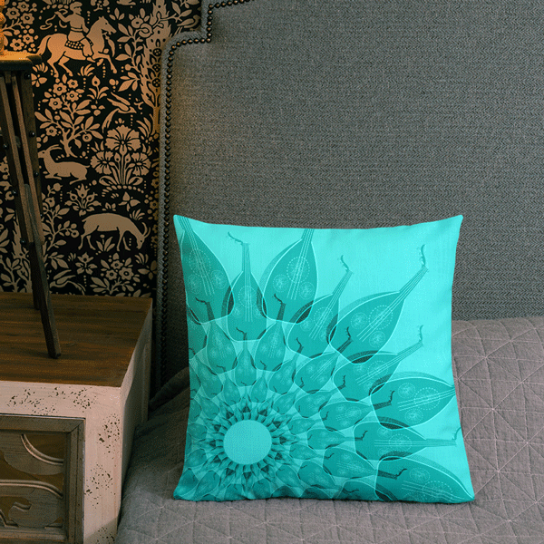 Oud in Aqua Blue Faux Suede Square Pillow Case,Yislamoo