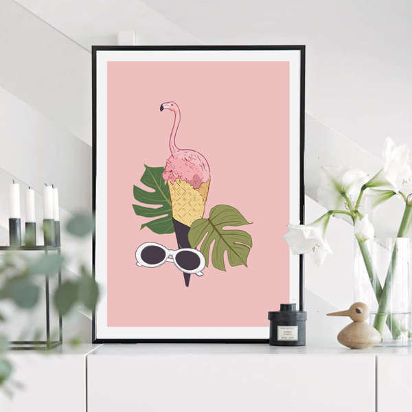 Pink Flamingo Ice Cream Art Print