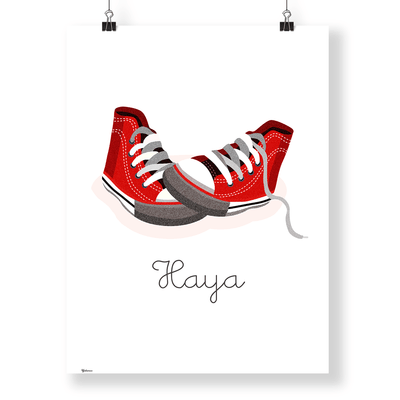 Toddler Girl Wall Art, Nursery Wall Decor | Customized Converse Wall Art Print | Yislamoo