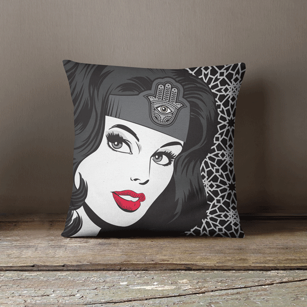 Pop Art Pillow Wonder Dame of Arabia Black & White,Yislamoo