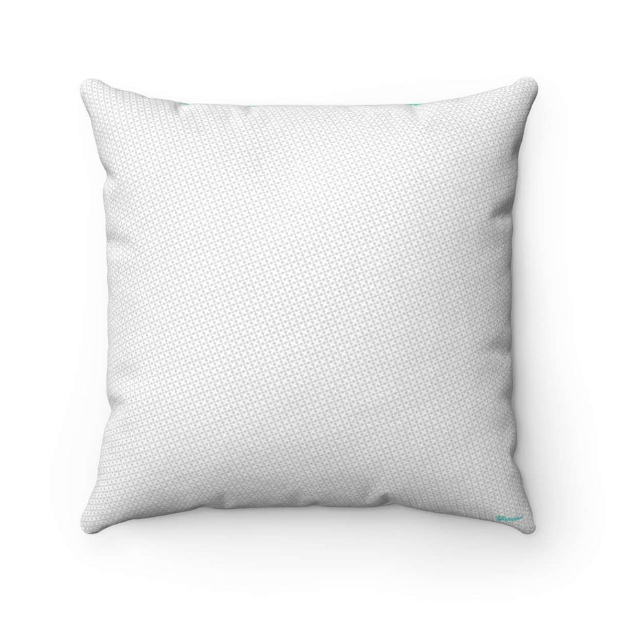 Azure Grid Faux Suede Square Pillow Case