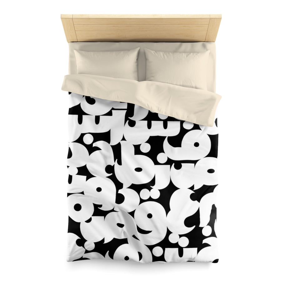 Arabic Duvet Cover | Arabic Alphabet in Black & White | Yislamoo