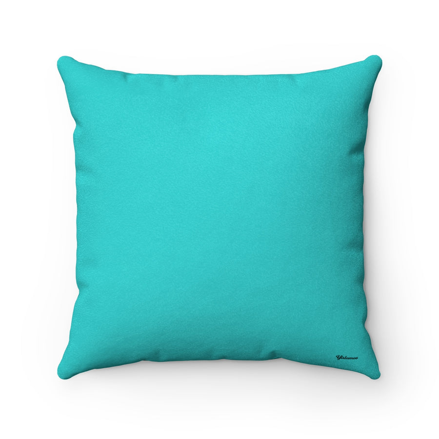Oud in Aqua Blue Faux Suede Square Pillow Case